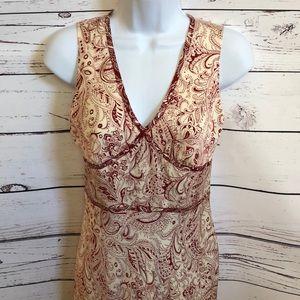 Banana Republic silk ivory red paisley dress